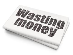 Banking concept: Wasting Money on Blank Newspaper background - stock illustration