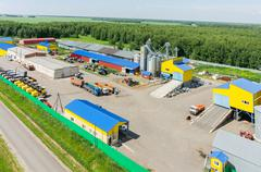 Machine yard of agricultural firm. Tyumen. Russia - stock photo
