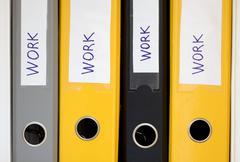 Hardworking environment Office Folders Stack - stock photo