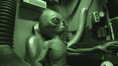 Grey Alien Piloting Flying Saucer- Roswell New Mexico - stock footage
