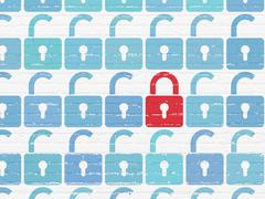 Protection concept: closed padlock icon on wall background - stock illustration