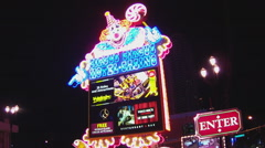 Circus Circus Hotel Casino Brightly Lit Sign- Night- Las Vegas Stock Footage