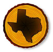 Texas Map On Timber End Section Stock Illustration