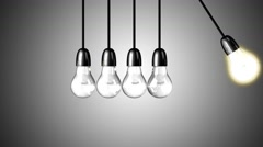 A light bulb boosts the others Stock Footage