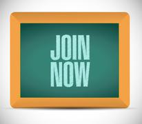 Stock Illustration of Join Now chalkboard sign concept