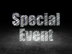 Business concept: Special Event in grunge dark room - stock illustration