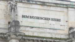 The 'Dem Bayerischen Heere' inscription on the Siegestor, Munich Stock Footage
