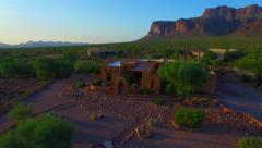 C Pan around saguaro cactus Superstition mountain home AZ.mp4 Stock Footage
