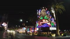 Las Vegas Boulevard Traffic At Night With Riviera Casino Stock Footage
