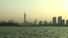 Nanjing skyscrapers, Xuanwu Lake, China Stock Footage