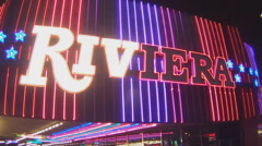 Riviera Casino Marquee Sign- Las Vegas Nevada - stock footage