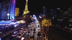 Night Traffic On Las Vegas Boulevard With Casinos Fountains - stock footage