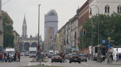 The New Town Hall and the Field Marshall's Hall seen from Ludwigstrasse, Munich Stock Footage