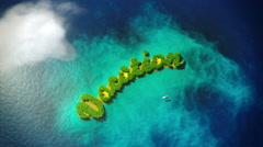 Tropical small islands form word Vacation Stock Footage