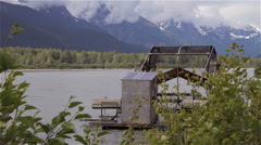 Alaska Fish Wheel Chilkat River Rear Stock Footage
