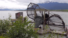 Alaska Fish Wheel Chilkat River Side Stock Footage