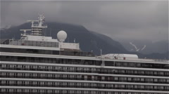 Alaskan Cruise Ship Pan Left Close Stock Footage