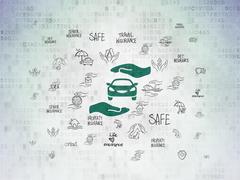 Insurance concept: Auto Insurance on Digital Paper background Stock Illustration