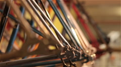 Bare Bicycle Frames Rack Focus - stock footage
