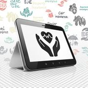 Insurance concept: Tablet Computer with Health Insurance on display Stock Illustration