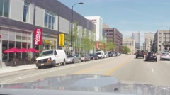 4k CHICAGO, ILLINOIS, USA - AUGUST 2015: Driving car in traffic on streets Stock Footage
