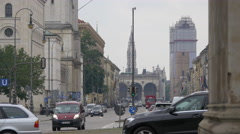 The Feldherrnhalle and the New Town Hall seen from Ludwigstrasse, Munich Stock Footage