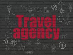 Vacation concept: Travel Agency on wall background - stock illustration