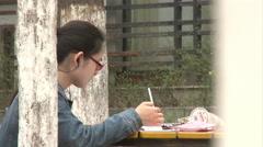 Chinese university student studying, China - stock footage