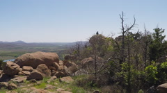 Distant Man On Mountaintop- Wichita Mountains Nature Reserve Stock Footage