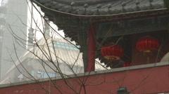 Red lanterns on Nanjing Drum Tower, China Stock Footage