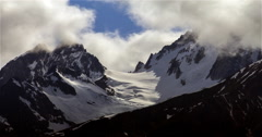 Stock Video Footage of Emmerich Craggy Glacier Mist Alaska Time Lapse 4K
