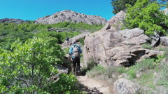 Family Hiking Up Mountain Trail- Wichita Mountains Nature Reserve Stock Footage