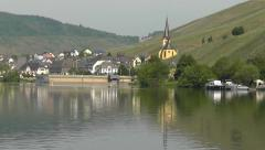 Zeltingen from the river Moselle, Germany with vineyards Stock Footage