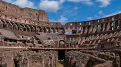 Panning time-lapse of shot from inside the Colosseum. - stock footage