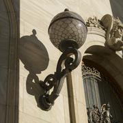 Lamppost outside the Montreal Museum of Fine Arts Montreal - stock photo