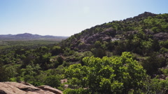 Forested Mountainside And Valley- Wichita Mountains Nature Reserve Stock Footage