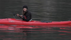 Lovely Female Kayaker Paddling Smooth and Calm Waters Stock Footage