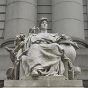 Statue at Alexander Hamilton U.S. Custom House in Manhattan - stock photo