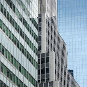 Low angle view of modern buildings in Manhattan Stock Photos