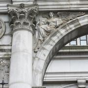 Architectural detail of a building in Lower Manhattan - stock photo