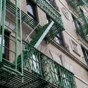 Low angle view of fire escape on a building in SoHo, Manhattan Stock Photos