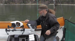 Marine Biologist Ready's Drone to Search for Sea Mammals - stock footage