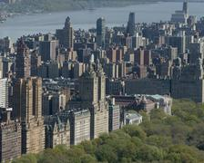 Aerial view of a Central Park and Midtown Manhattan Stock Photos