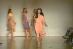 Fashion models walking on runway for Costello Tagliapietra Collection Stock Footage