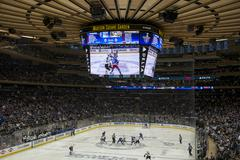 Ice hockey game at Madison Square Garden - stock photo