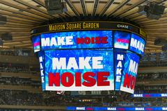 Scoreboard at Madison Square Garden Stock Photos