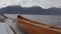 Old Wooden Canoe On Deck of Sea Vessel Stock Footage