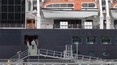 People Boarding An Ocean Vessel Stock Footage