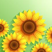 Nature modern background with 3d sunflower Stock Illustration