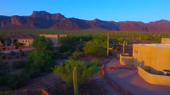 Over the pool and under the awning Superstition mountain home AZ.mp4 Stock Footage